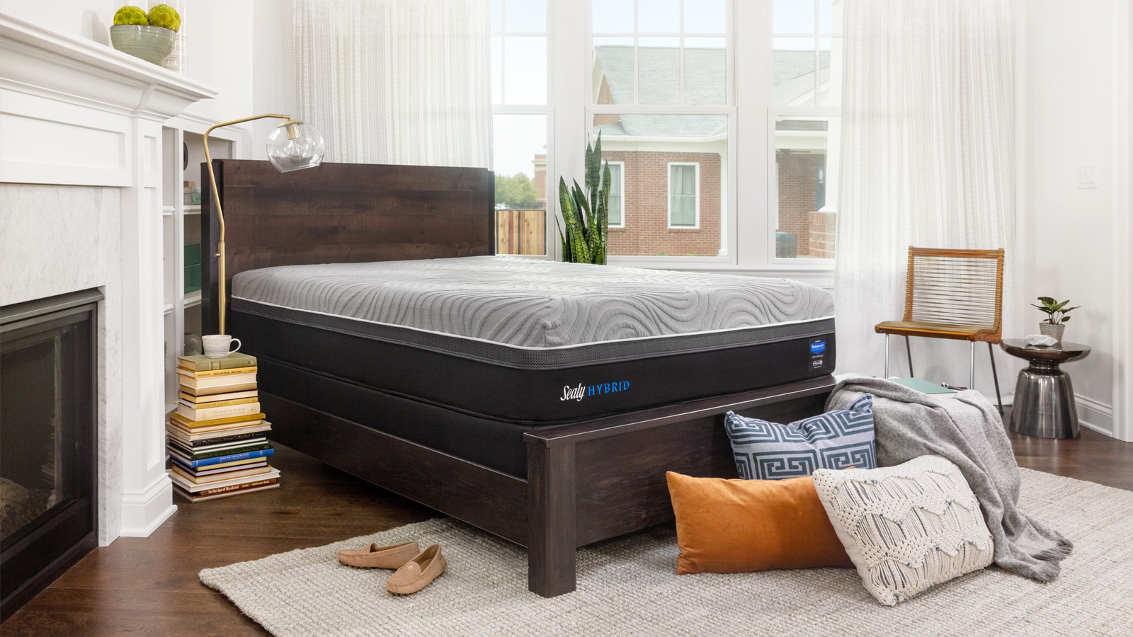 Sealy mattress setup within a bedroom